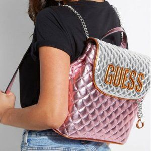 New GUESS Pink Multi Brielle Backpack